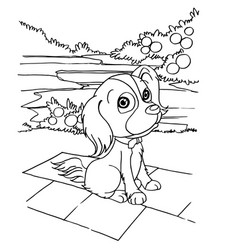 Dog cartoon coloring page vector