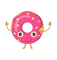 Doughnut with pink sprinkles funny happy character vector