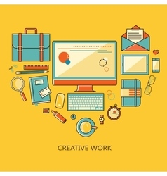 Freelance and remote creative work - vector