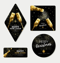 Gold christmas and new year greeting card set vector