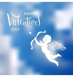 Hand lettering and Cupid vector image