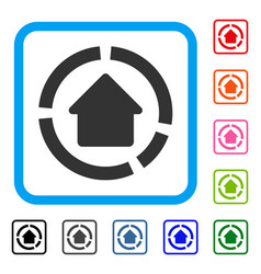 House diagram framed icon vector