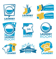 laundry service template icons set of linen vector image