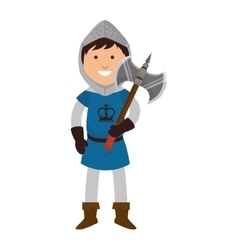man medieval warrior cartoon vector image
