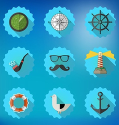 Navy Sailor Marine Flat Icon Set Include fish vector image