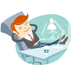 Office man sitting with feet on his working desk vector image vector image