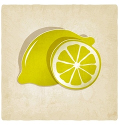 paper lemon icon on old background vector image vector image