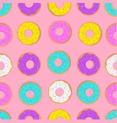 pattern with donut cakes vector image