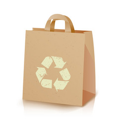 Recycling bag brown paper lunch kraft bag vector