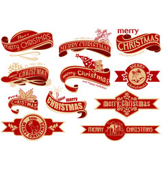 red christmas banner set vector image