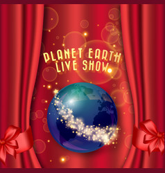 red curtain and planet earth with stars theater vector image