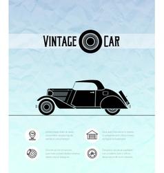 Retro cabriolet car vintage outline style vector image vector image