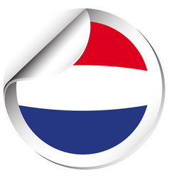 Round sticker design for flag of netherland vector