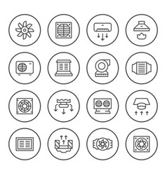 Set round line icons of ventilation vector