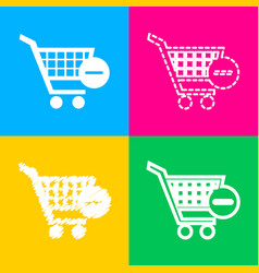 Shopping cart with remove sign four styles vector