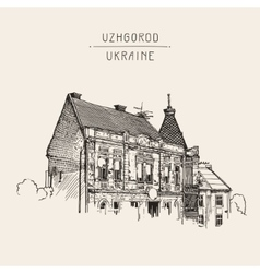 Sketch of uzhgorod cityscape ukraine town vector