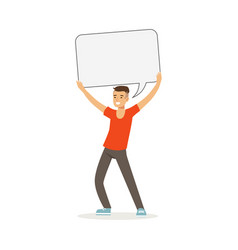 smiling man character holding empty message board vector image