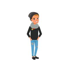 Stylish teen boy dressed in black sweater hat vector