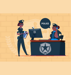 Two african american police women working on vector