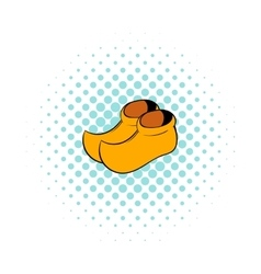 Wooden shoes icon comics style vector