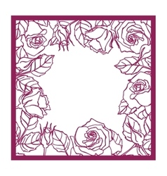 Laser cut rose square frame cutout pattern vector