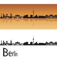 Berlin skyline in orange background vector