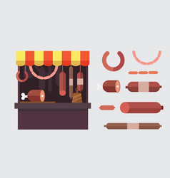 Meat shop stall with meats products vector