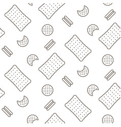 Cookie line icon seamless pattern vector