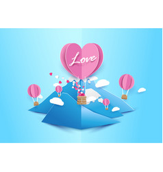Paper art style heart shape balloons background vector