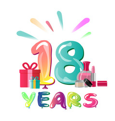 18th anniversary celebration design with gift box vector