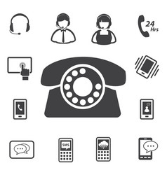 Call center and customer service icon set vector