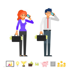 characters talking on the phone vector image