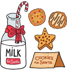 Milk cookies for santa claus vector