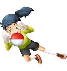 A girl using the ball with the Chile Flag vector image