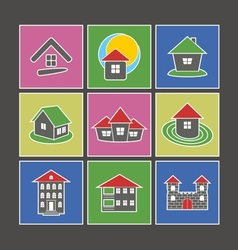 Icons of houses vector