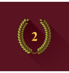 With laurel wreaths in flat design with long vector
