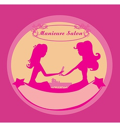 Manicure in beauty salon icon vector