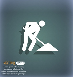 Repair of road construction work icon symbol on vector