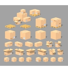 Cube world cardboard boxes vector