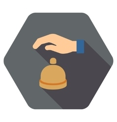 Reception call bell flat hexagon icon with long vector