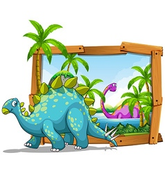 Two dinosaurs in wooden frame vector