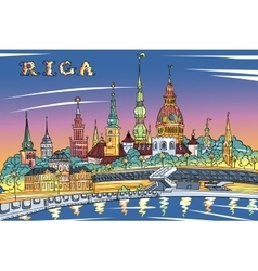 Old Town and River Daugava at night Riga Latvia vector image
