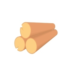 Wooden logs icon in cartoon style vector