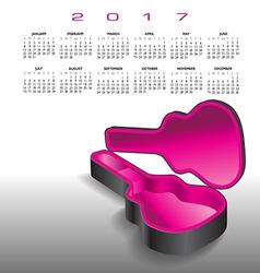A 2017 calendar with an empty guitar case vector image vector image