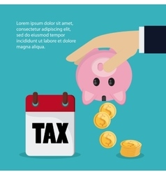 Calendar piggy and coins icon tax and financial vector