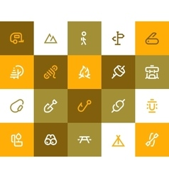 Camping and outdor icons Flat style vector image