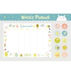 Cute Calendar Weekly Planner vector image
