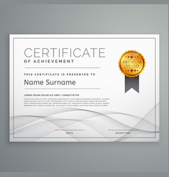 Diploma certificate design template with wavy vector