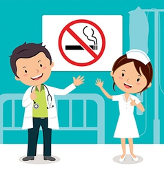 Doctor and nurse with non-smoking sign vector