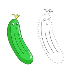 Educational game connect dots draw cucumber vector